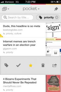 Pocket app for iOS, Screenshot