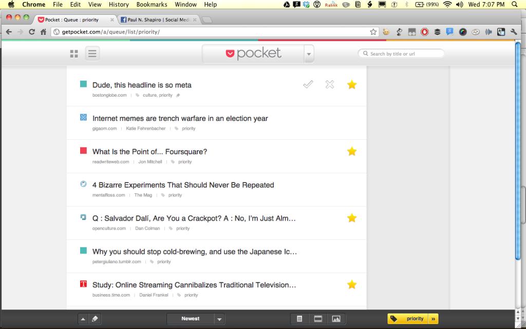 Screen Shot of Pocket Web Service (getpocket.com)