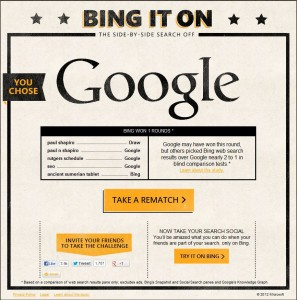 Bing It On Results Favoring Google