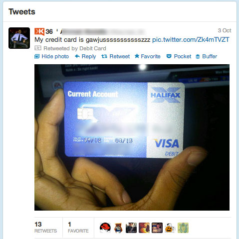 Blurred Tweet from @NeedADebitCard
