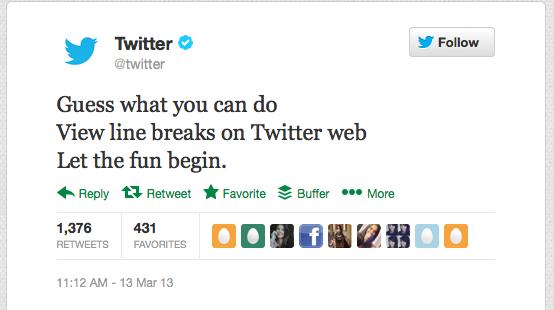 twitter introducing line breaks via tweet