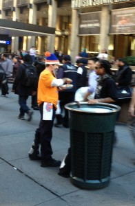 homeless man demonstrating audiene targeting during knicks game