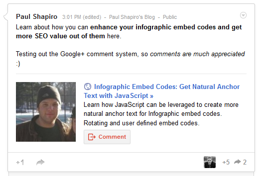 screenshot of google+ post with a comment call to action