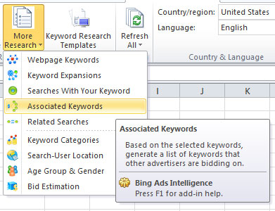 Bing-Keyword-Tool-Excel-Ribbon-associated-keywords