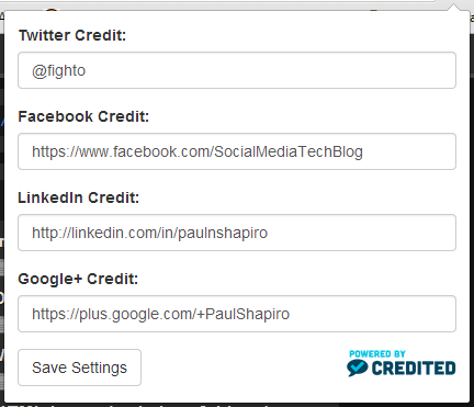 credited.io social media accounts settings