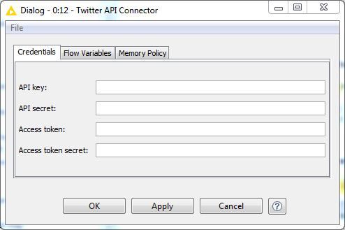 inputing twitter api into KNIME