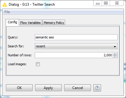 twitter search node configuration -  knime
